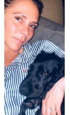 Виктория Бекъм релаксира у дома, в компанията на кучето Фиг